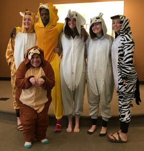 Posing in animal costumes for VBS skit for Swazi17